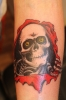 Skateboard Powell Logo Totenkopf Tattoo